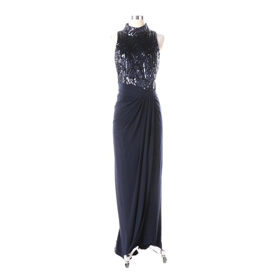 Lauren Ralph Lauren Navy Sequined Gown : EBTH