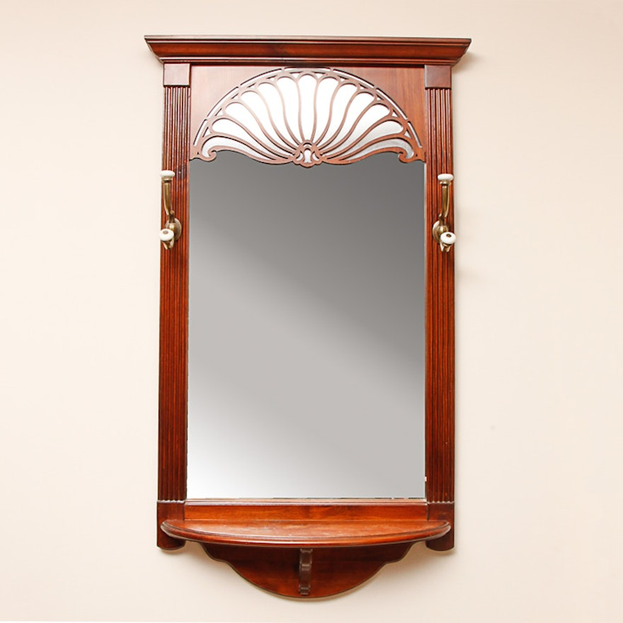 Wooden Wall Mirror With Coat Hooks And Shelf Ebth