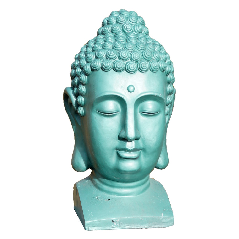Green Plaster Bust of Buddha on Decorative Stand