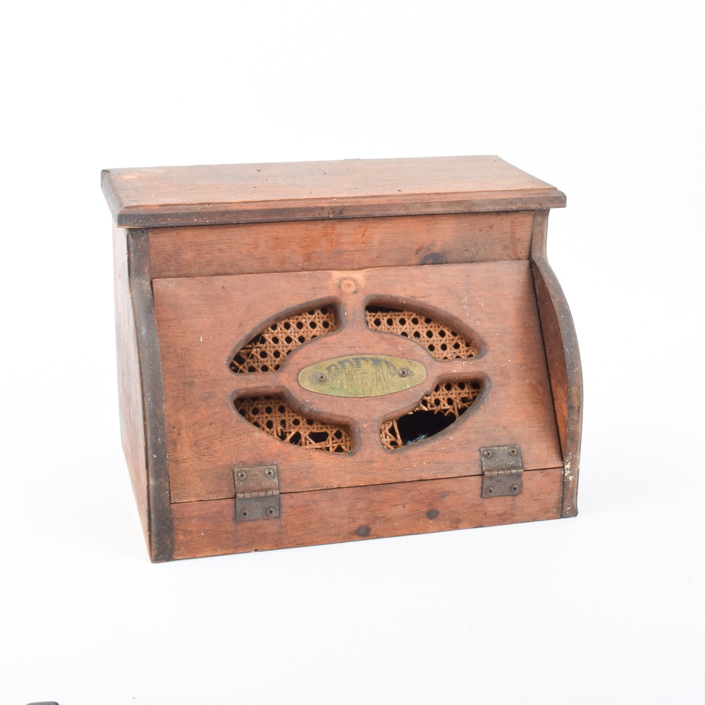 Vintage Wooden Bread Box with Cane Rattan Lining
