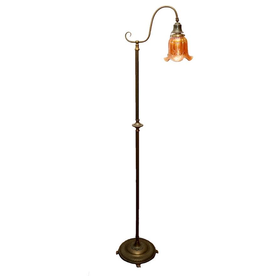 Vintage bridge arm floor lamp with carnival glass shade ebth vintage bridge arm floor lamp with carnival glass shade aloadofball Image collections