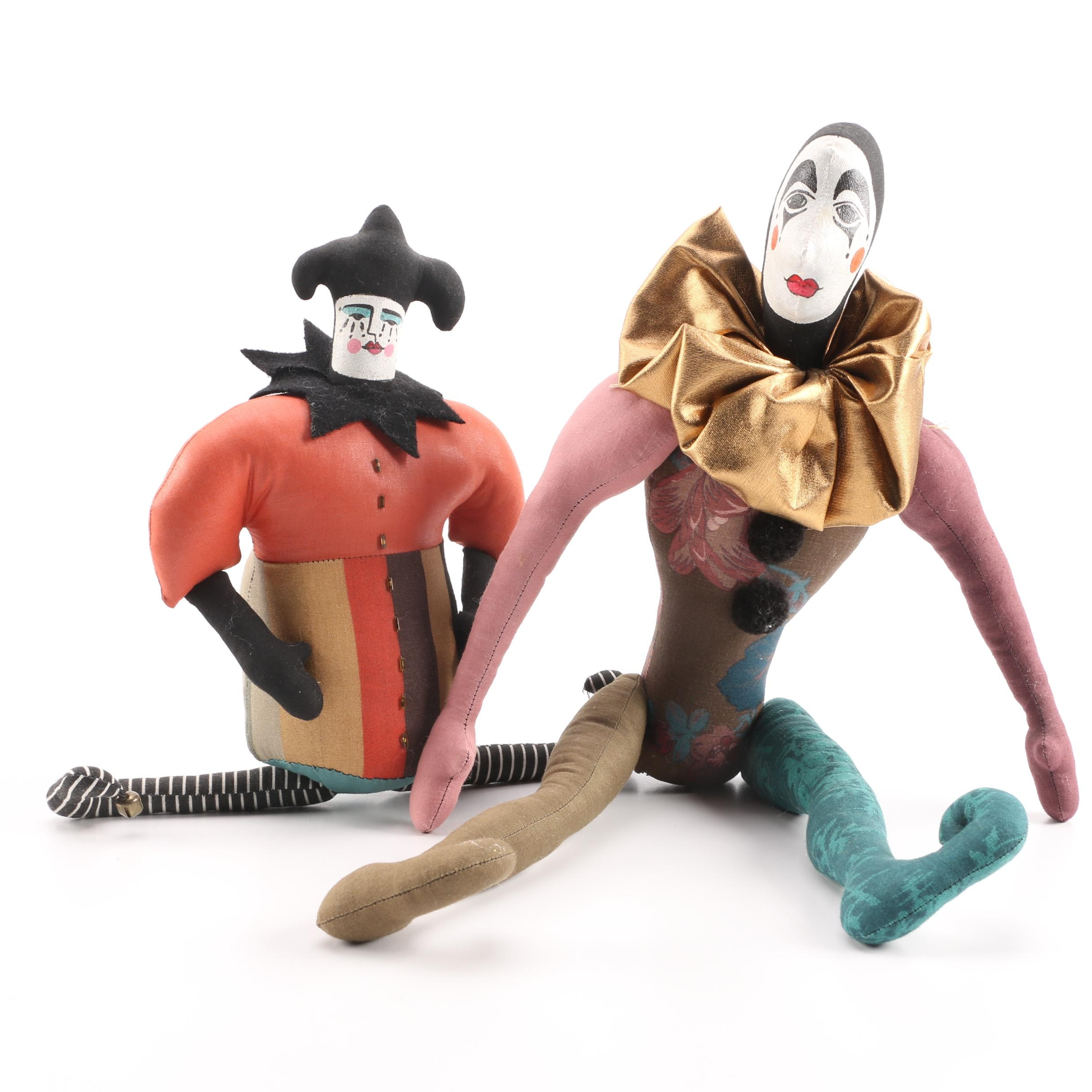 Vintage Hand Crafted Pierrot Mime Cloth Dolls