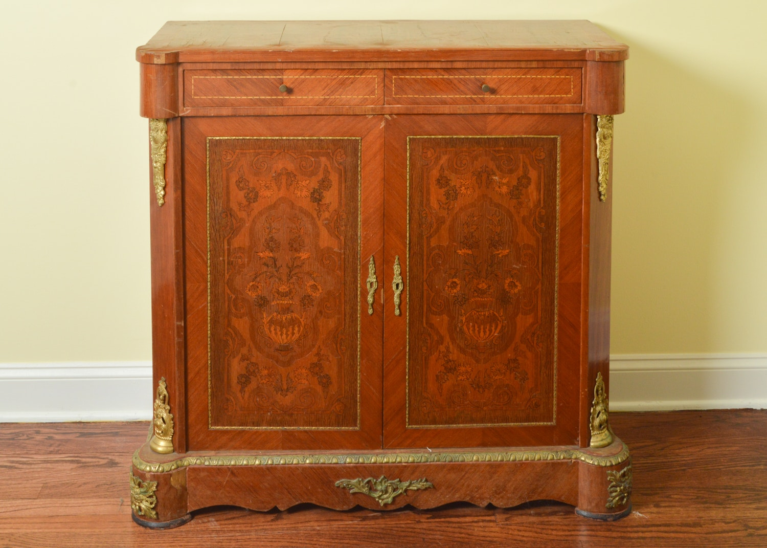 French Louis XV Style Marquetry Cabinet ...