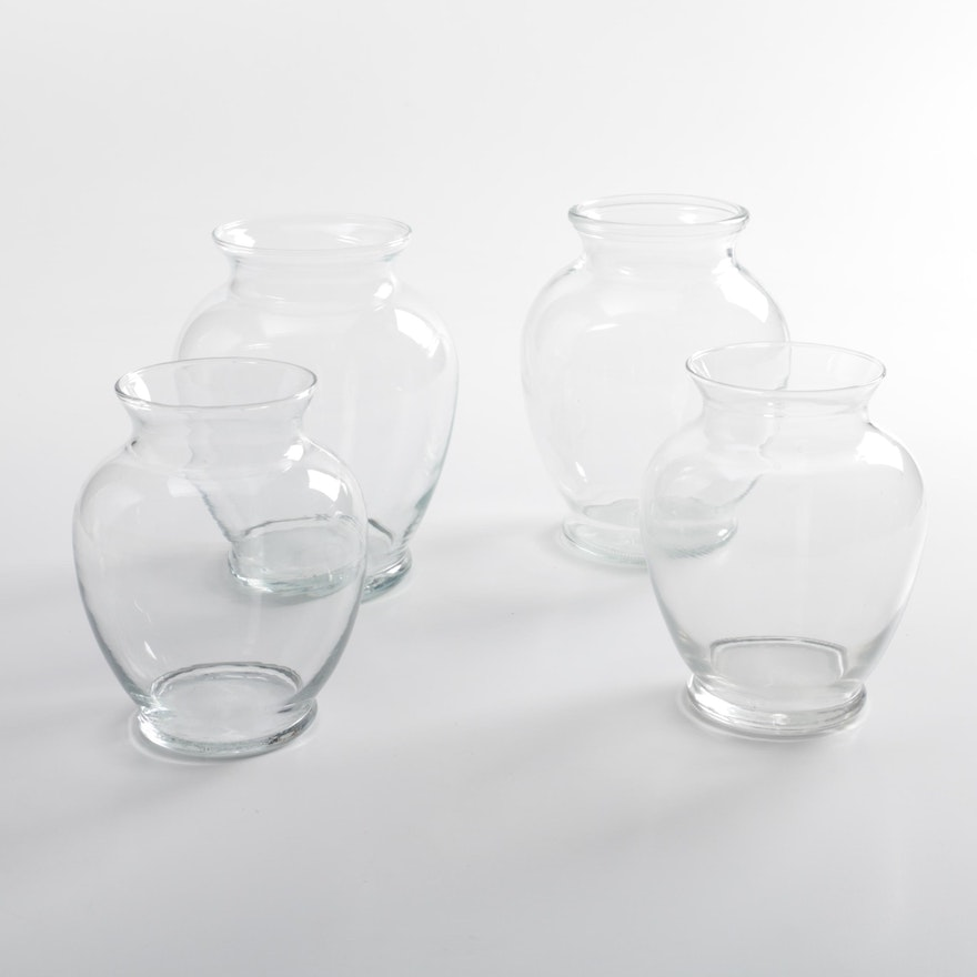Vintage Clear Glass Baluster Vases Ebth