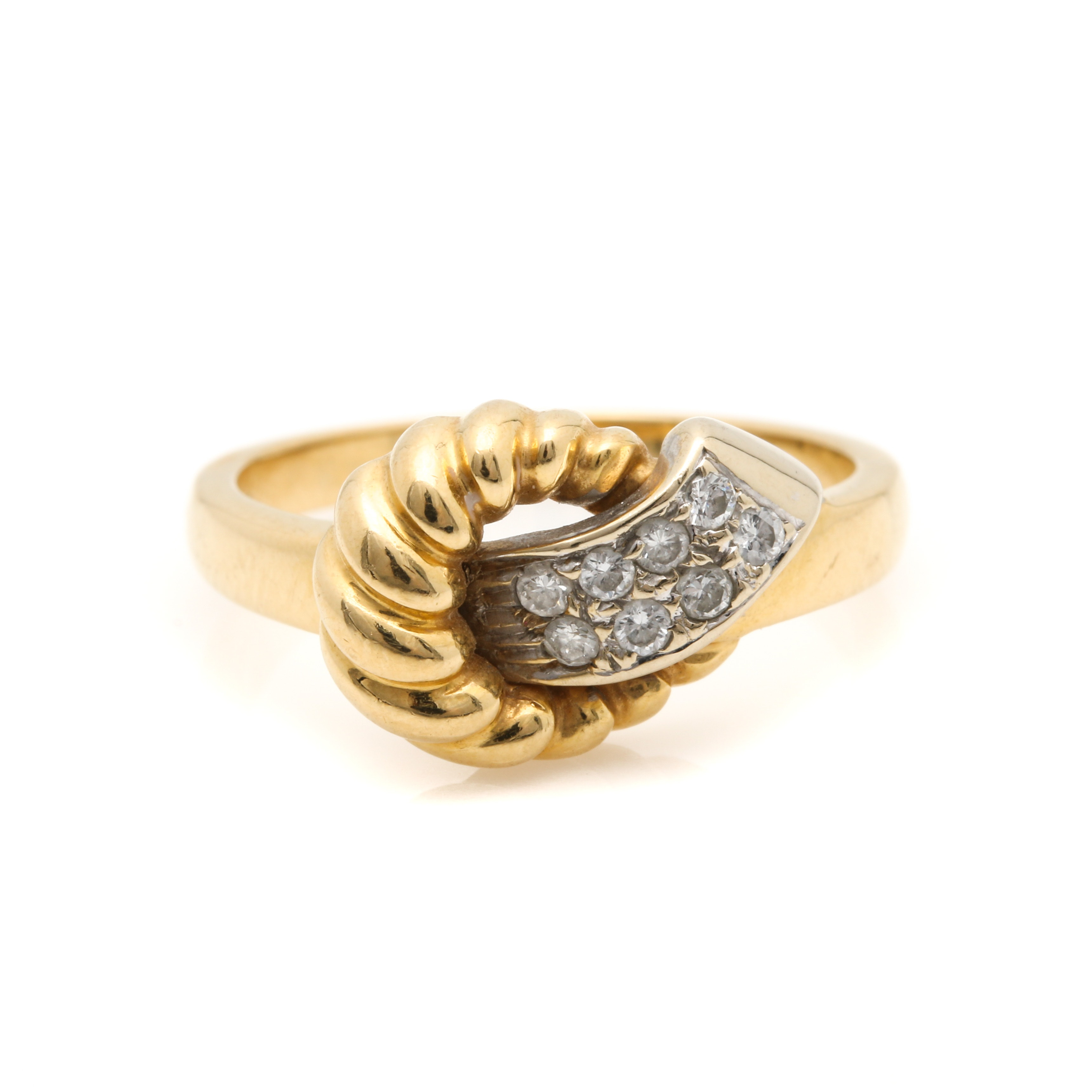 18K Yellow Gold Diamond Knot Ring