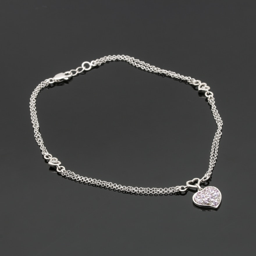 hearts in an gold and diamond bracelet with flowers white anklet ankle