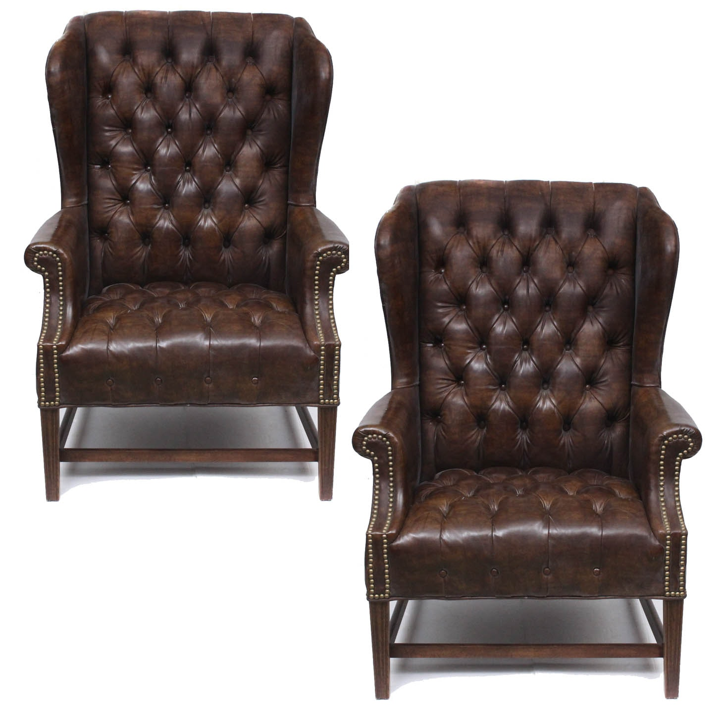Two Vintage Faux Leather Wing Back Chairs By Sam Moore ...