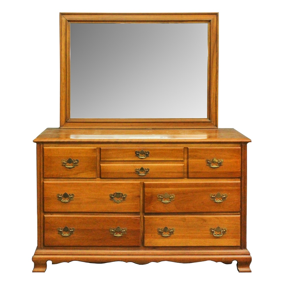 Traditional Style Maple Dresser and Mirror
