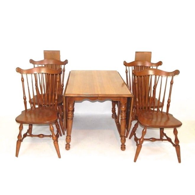 Maple Kitchen Table With Chair And Bench Ebth: Rockport Maple Drop-Leaf Table And Chairs : EBTH