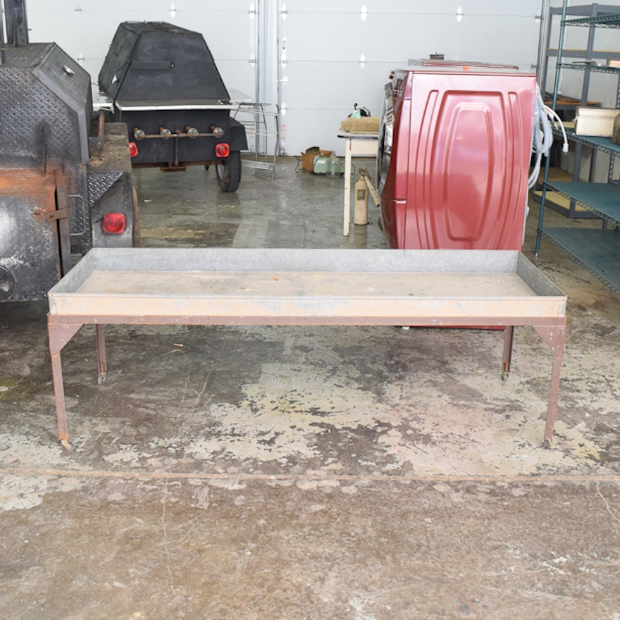 Metal Vintage Potting Table On Wheels