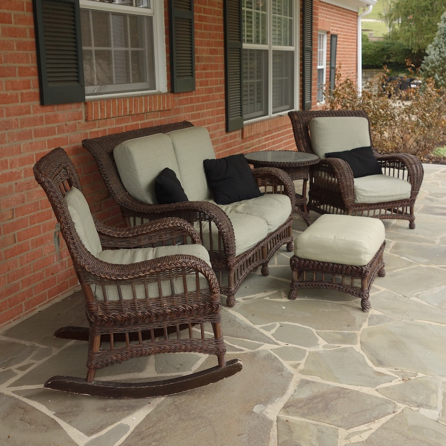 Ethan Allen Outdoor Wicker Furniture Set Ebth