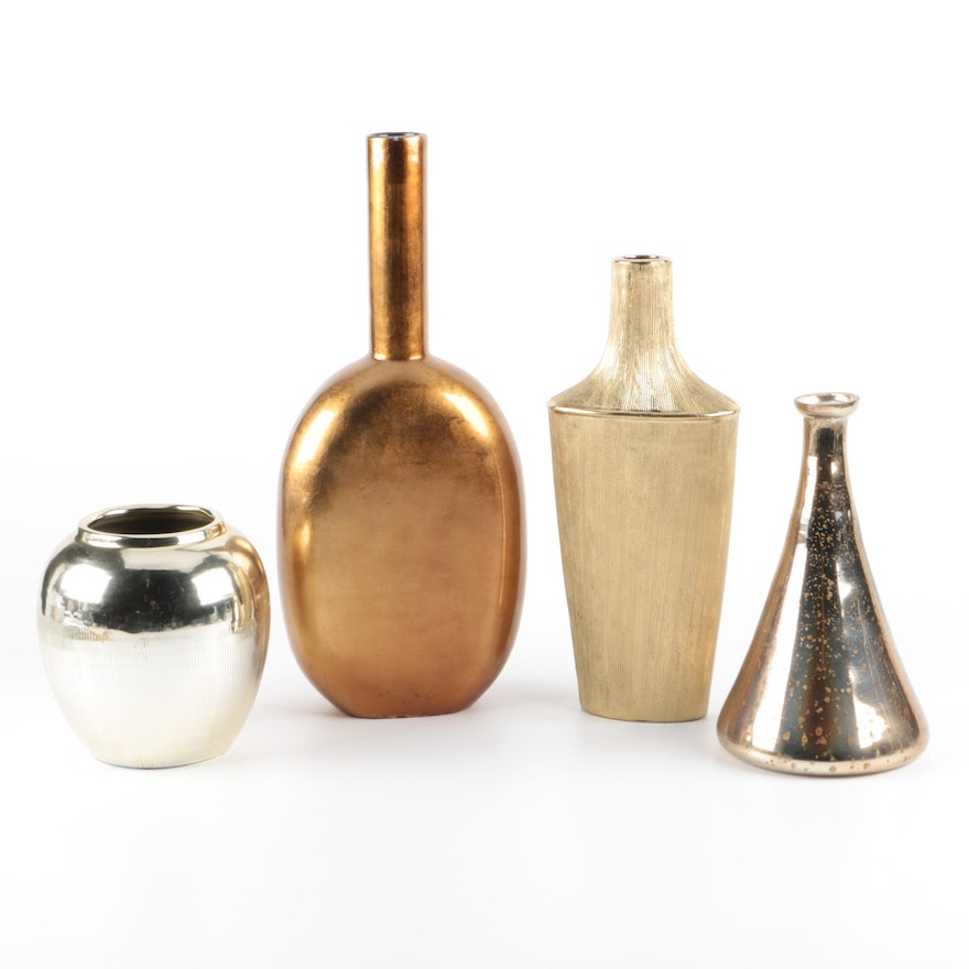 Selection Of Four Painted Metallic Vases Ebth