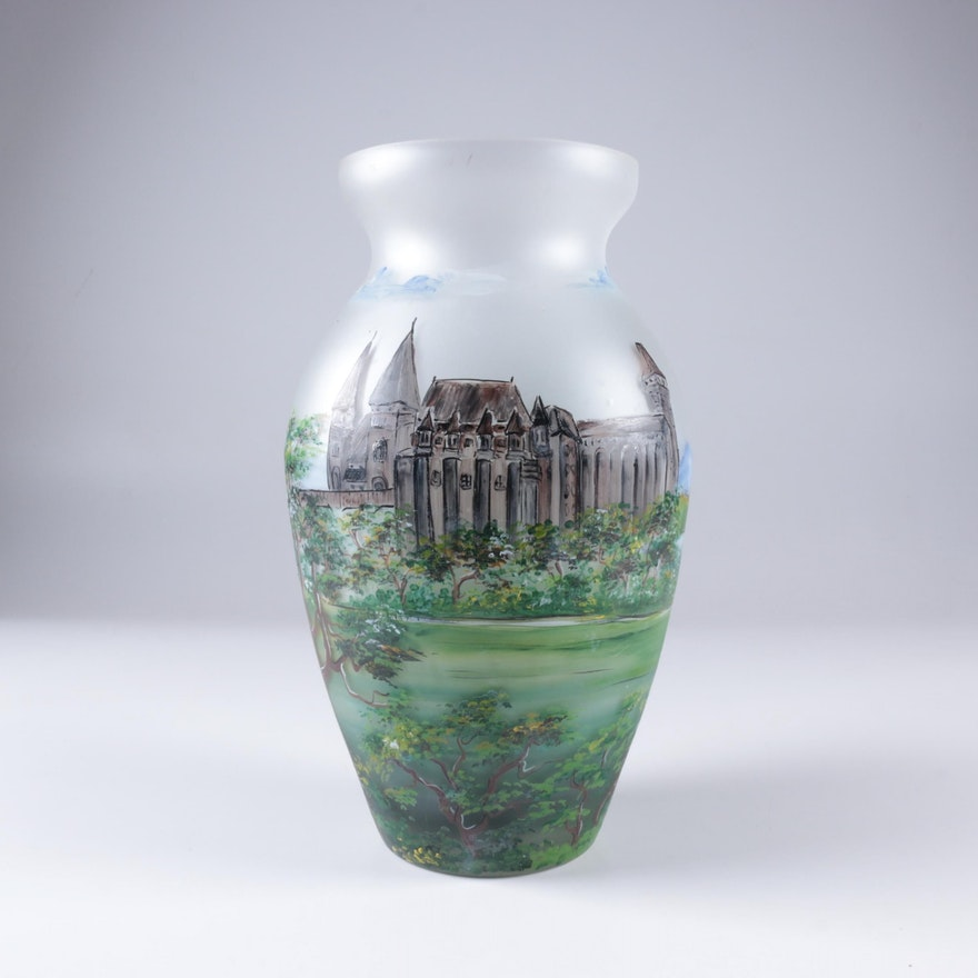 Limited Edition Hand Painted Frosted Glass Vase Ebth