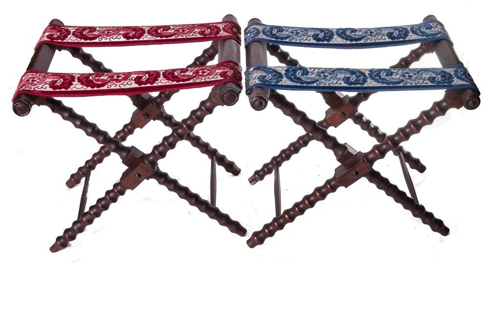 Pair of Vintage Mahogany Finished Luggage Racks
