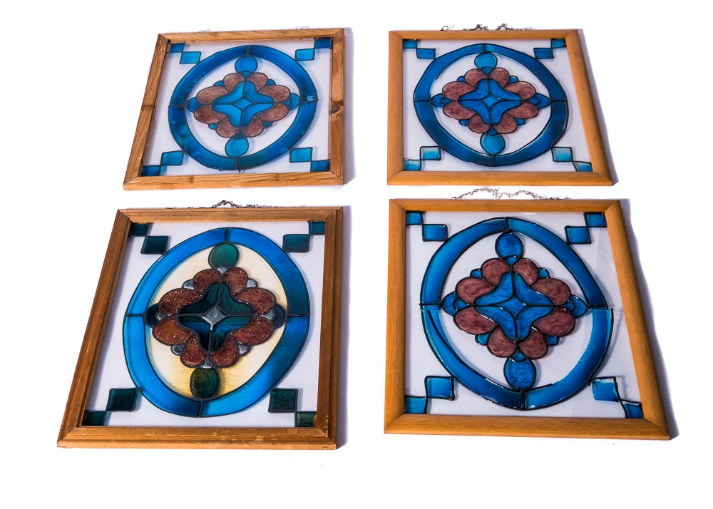 Hand-Painted Glass Panels Including Stained Glass
