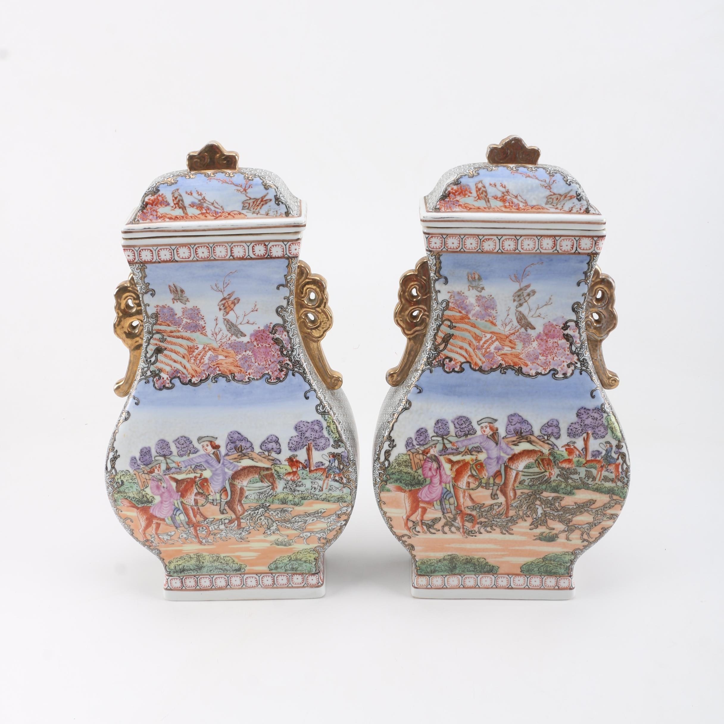 Chinese Export Style Covered Porcelain Urns