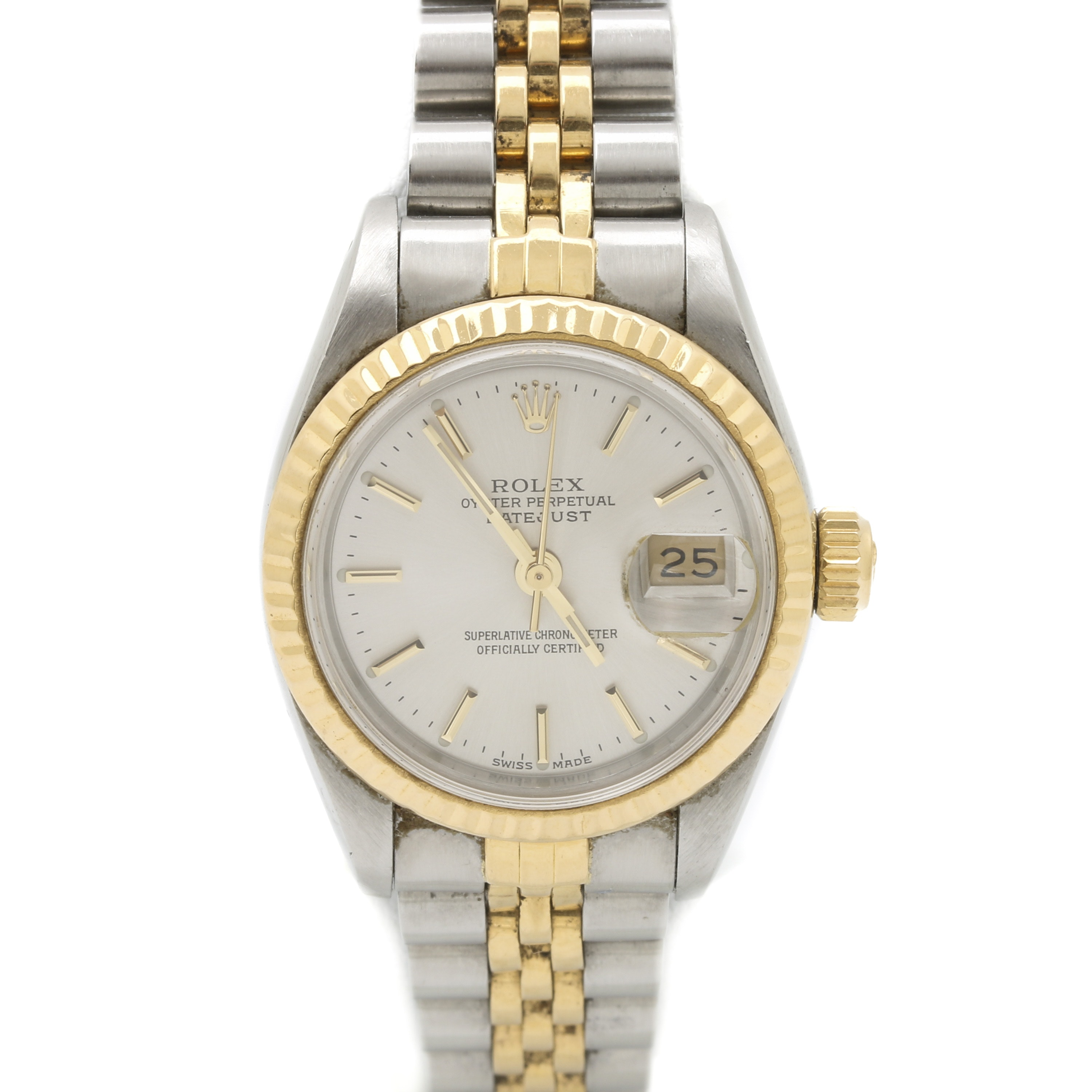 Rolex Oyster Perpetual Date Just 18K Yellow Gold and Stainless Steel Wristwatch