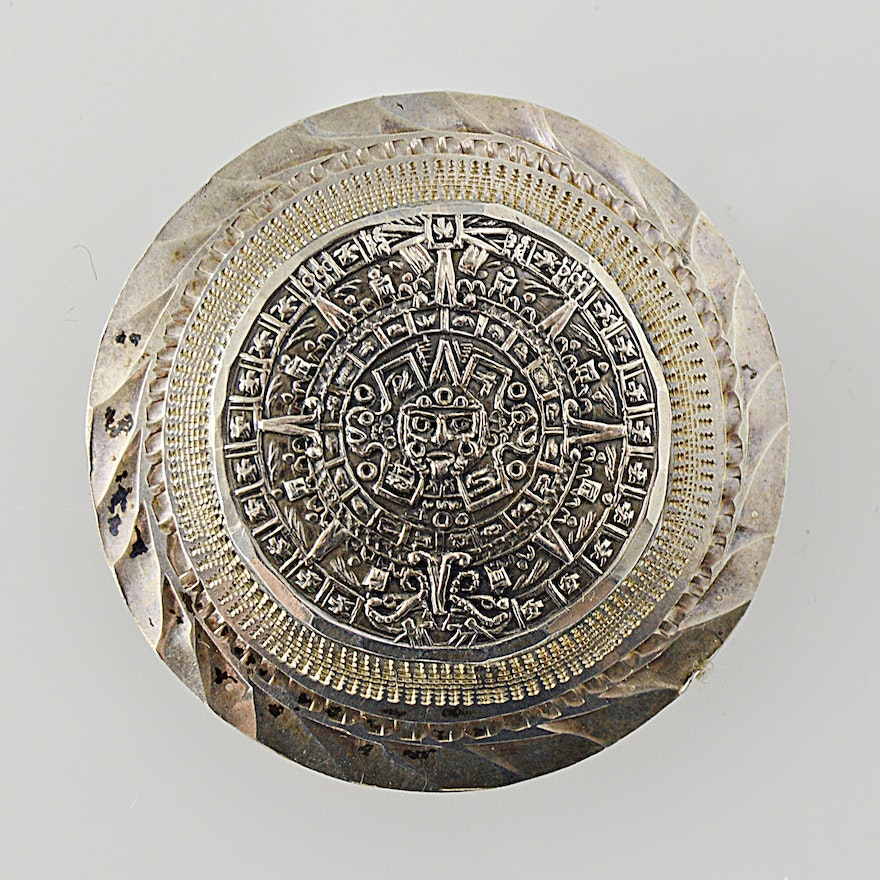 Vintage mexican sterling silver aztec calendar pendant brooch ebth vintage mexican sterling silver aztec calendar pendant brooch aloadofball Image collections