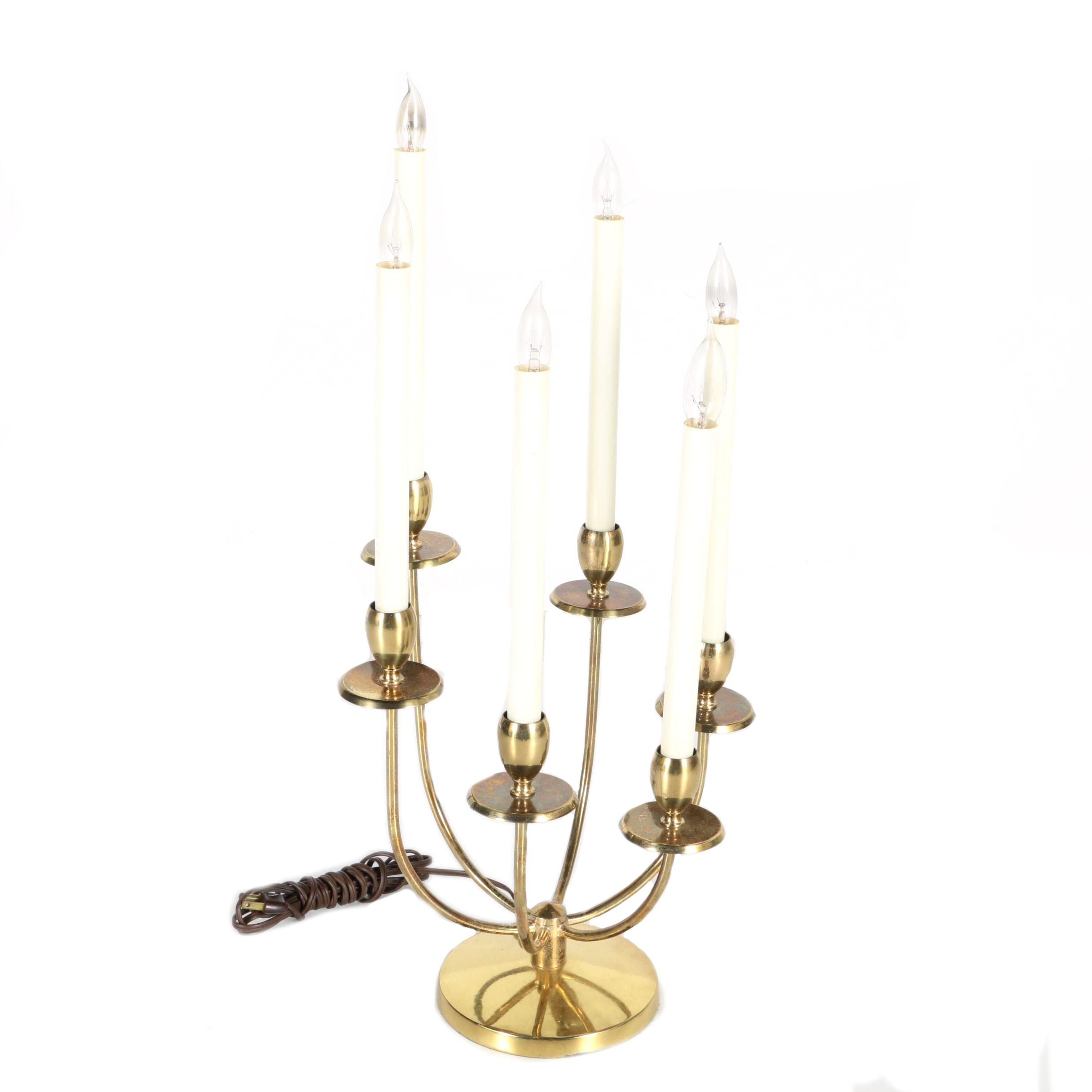 Vintage Brass Candelabra Table Lamp ...