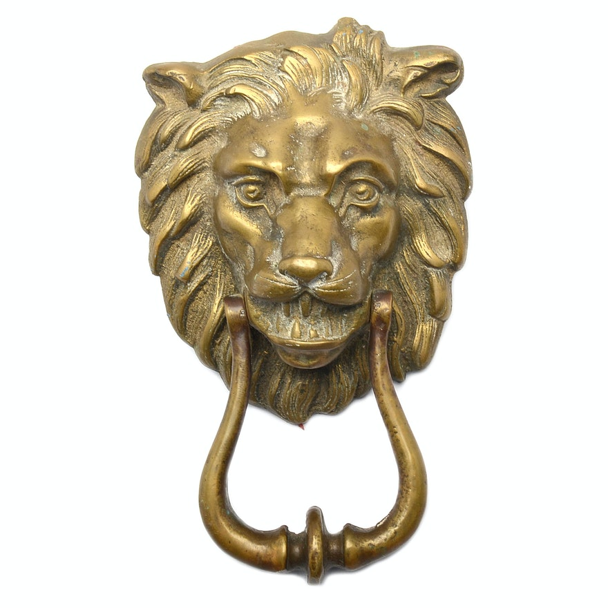 Antique Brass Lion Door Knocker ... - Antique Brass Lion Door Knocker : EBTH