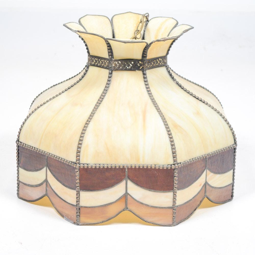 Vintage Leaded Slag Glass Hanging Lamp