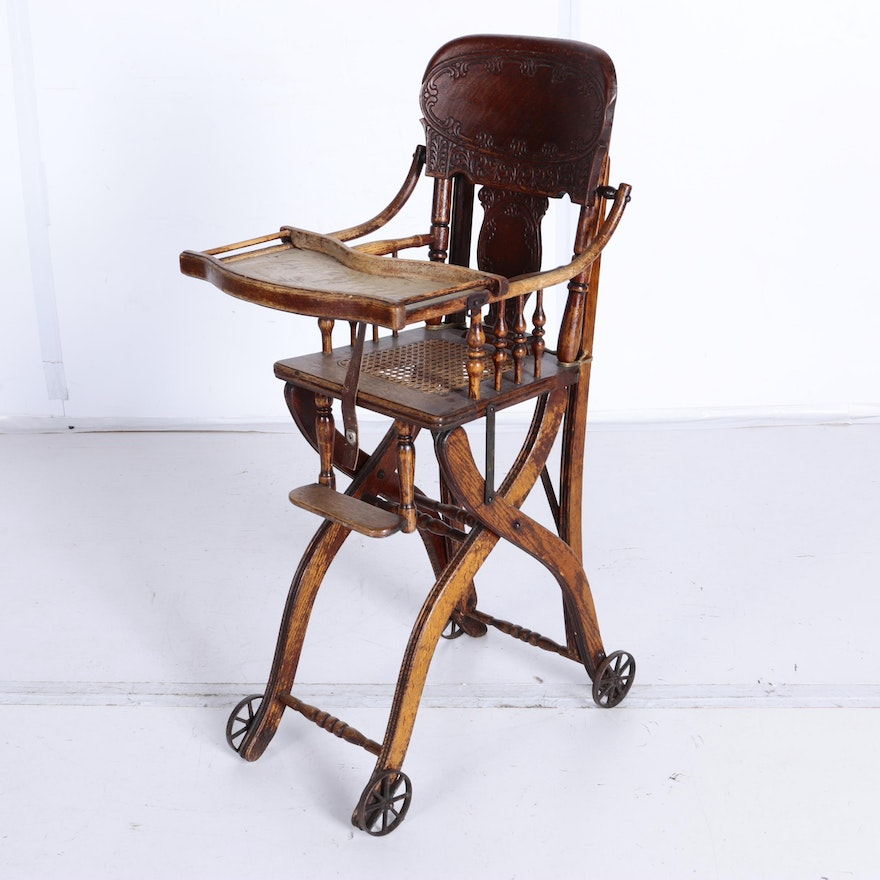 Antique Oak High Chair ... - Antique Oak High Chair : EBTH