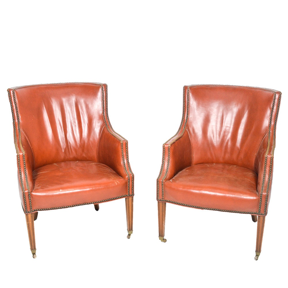 Pair of Rust Leather Armchairs