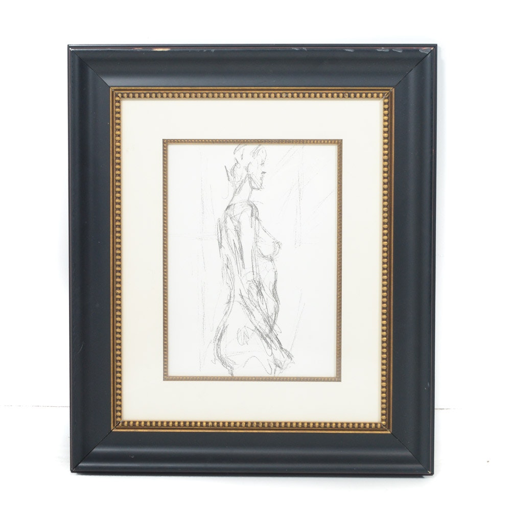 "Vintage Lithograph After Giacometti ""Nude"" by Maeght"