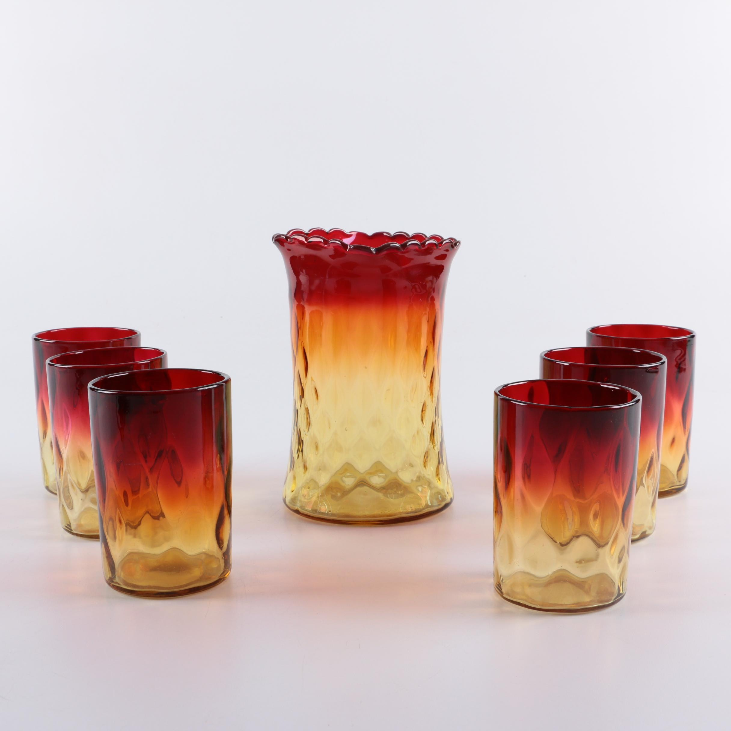 Antique Amberina Glass Tumblers and Vase