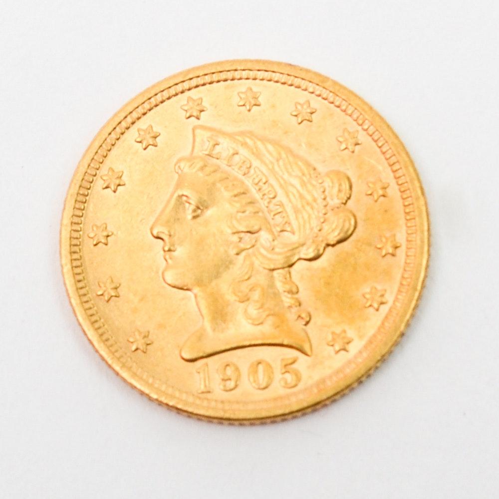 1905 Liberty Head $2.5 Gold Coin