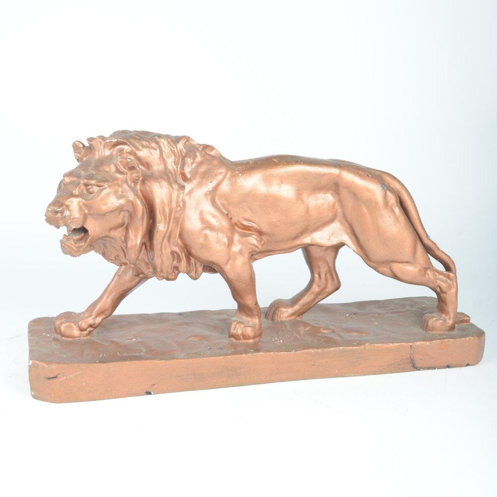 Walking Lion Sculpture After Louis Vidal