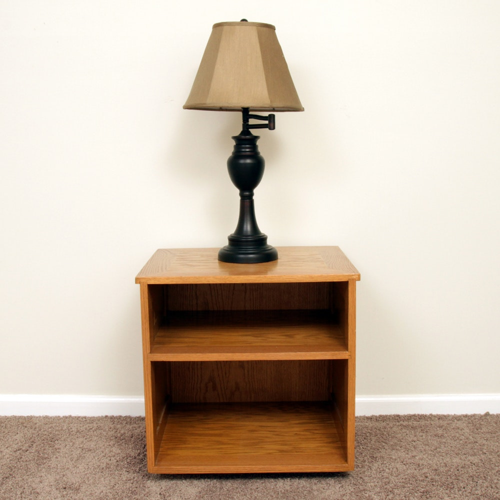 Oak Open Cabinet / End Table and Table Lamp