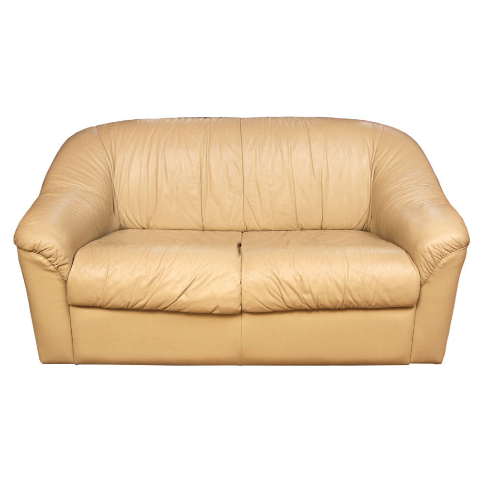 Contemporary Leather Loveseat in Beige