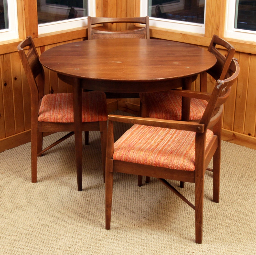 Mid Century Modern Walnut Table and Chairs from American of Martinsville