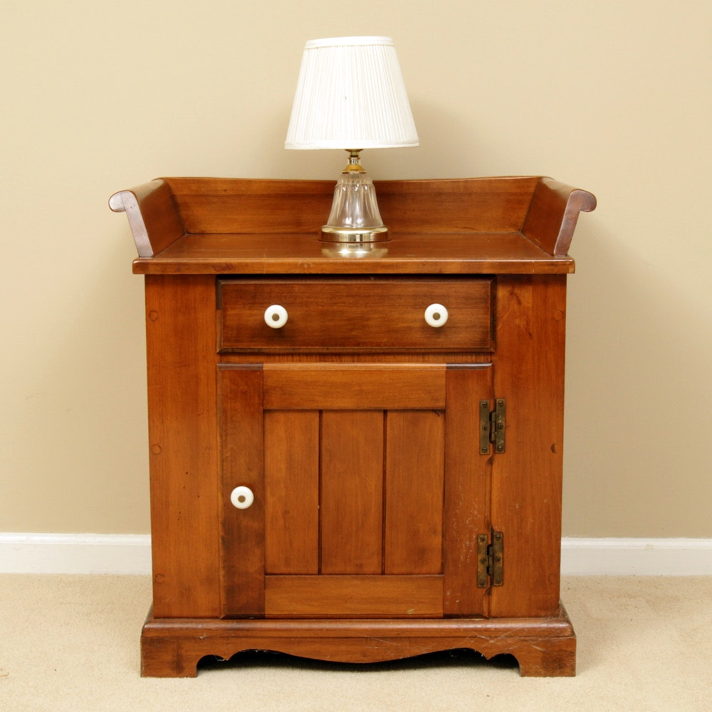 Vintage O'Hearn Sugar Maple Nightstand and a Lamp