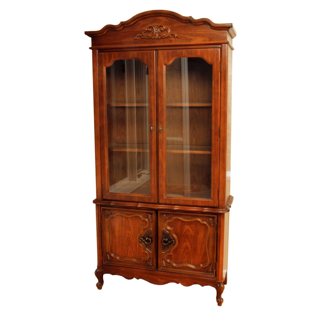 French Provincial Walnut China Cabinet