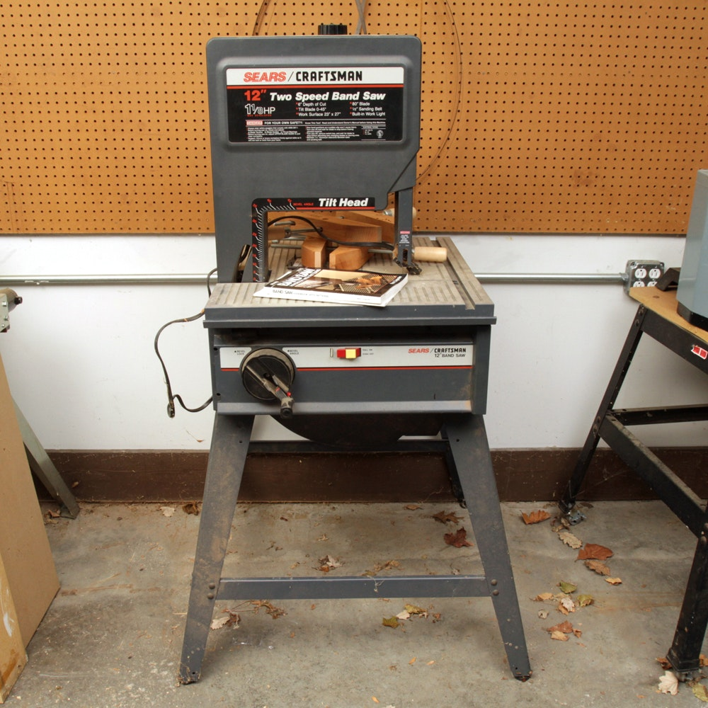 """Sears Craftsman 12"""" Two-Speed Band Saw and Other Woodworking Tools"""