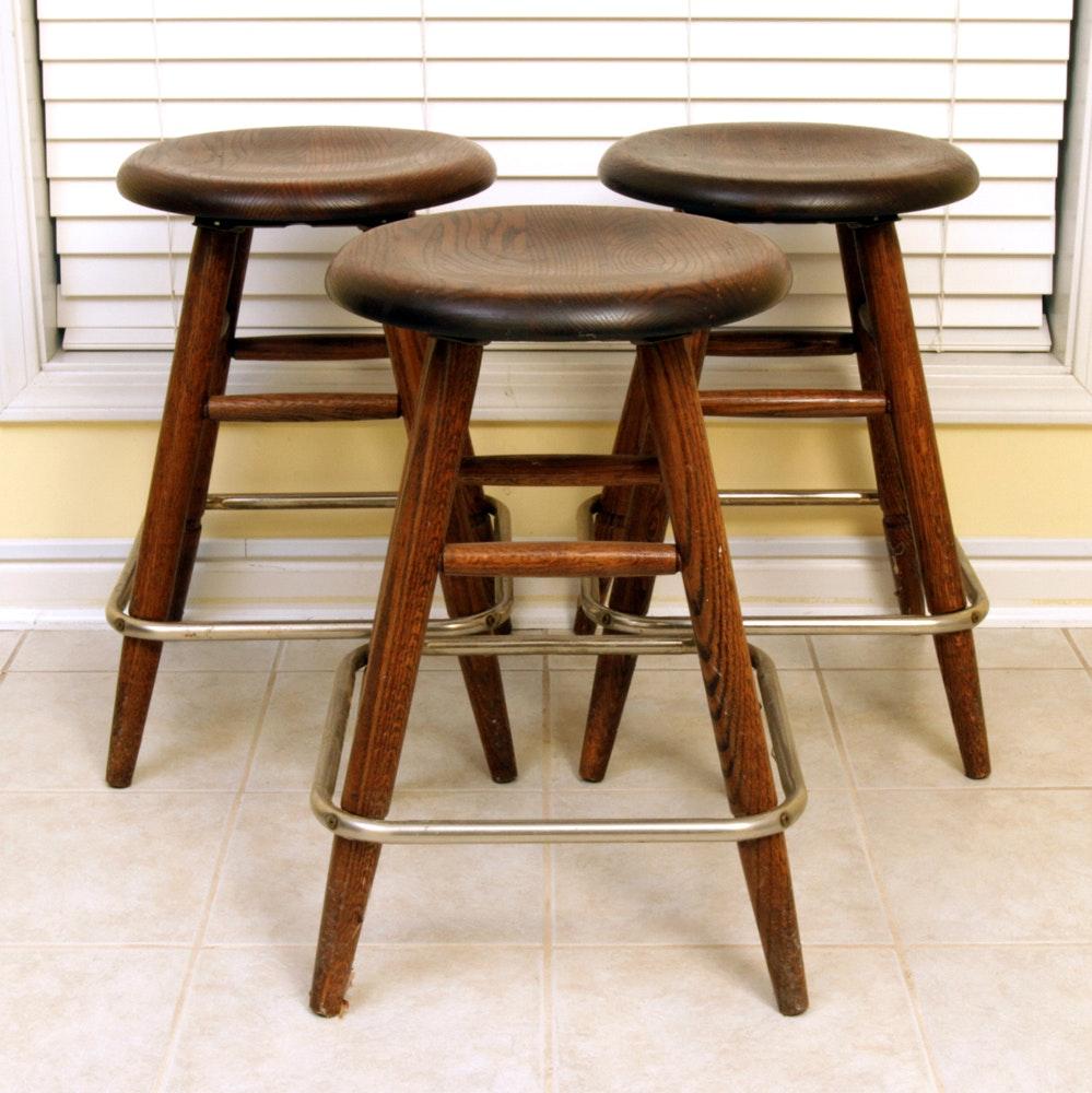 Three Vintage Wooden Stools