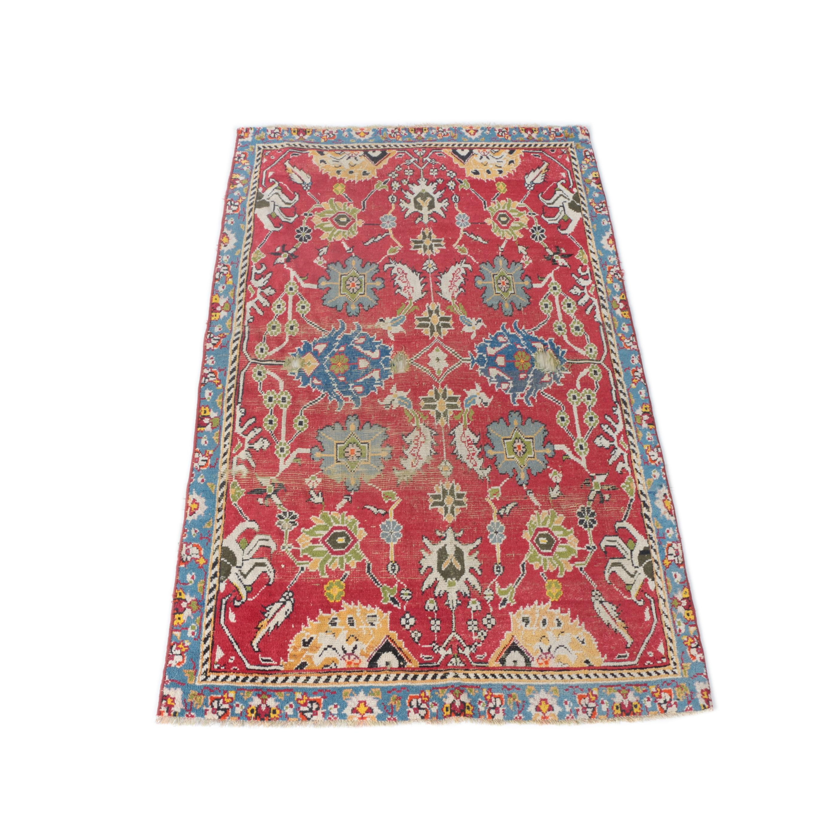 Antique Hand-Knotted Turkish Wool Area Rug