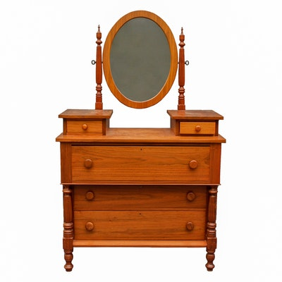 Empire Style Cherry Dresser With Mirror - Online Furniture Auctions Vintage Furniture Auction Antique