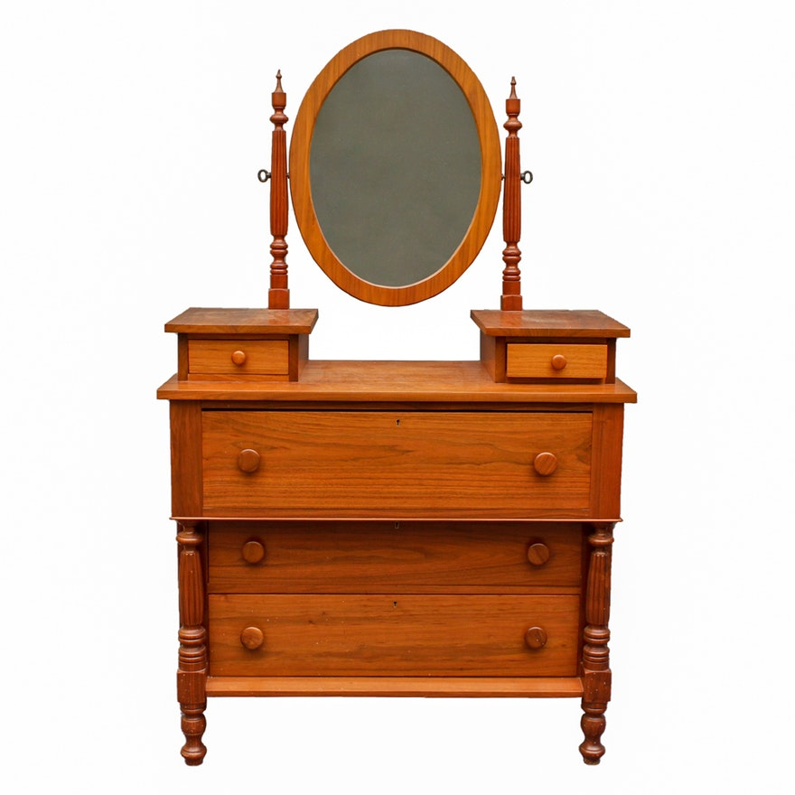 Empire Style Cherry Dresser With Mirror