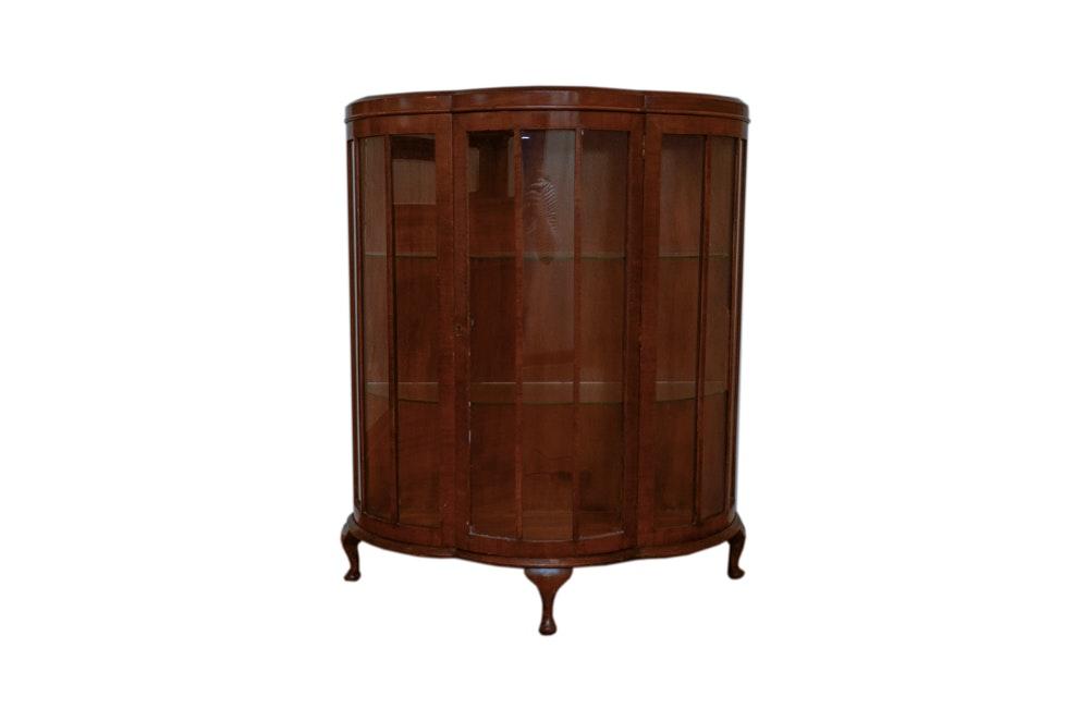 Vintage English Art Deco Walnut Display Cabinet