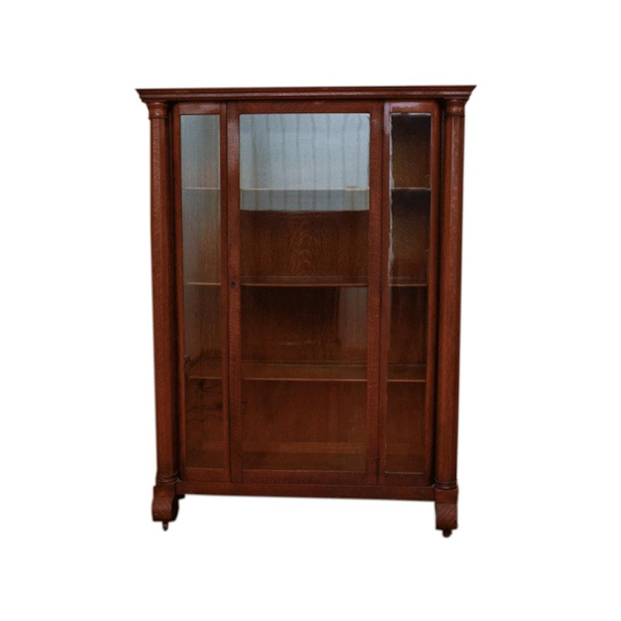 Antique Victorian Empire Style Tiger Oak Display Cabinet ... - Antique Victorian Empire Style Tiger Oak Display Cabinet : EBTH