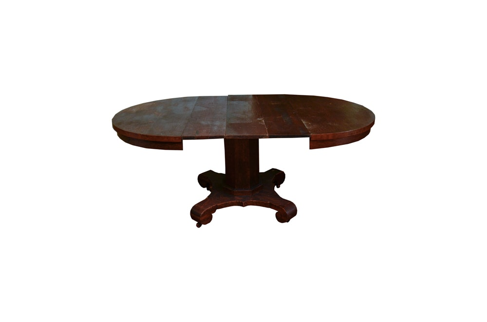 Antique Regency Style Oak Pedestal Dining Table with Three Leaves