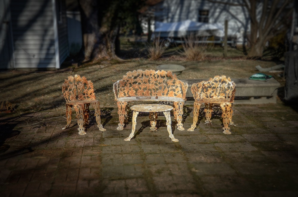 Cast Iron Bench, Armchair, Side Chair and Table