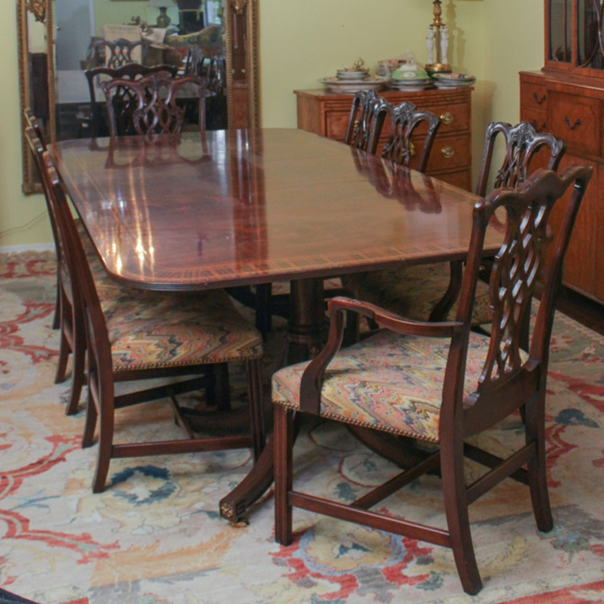 Federal Style Dining Table From Baker Furniture And Chippendale Chairs Ebth