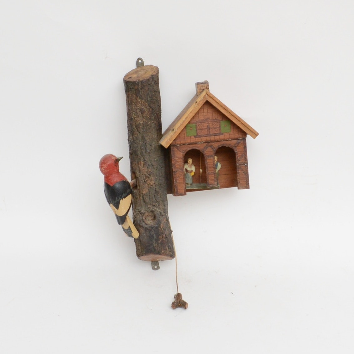 Folk Art Woodpecker and Cottage