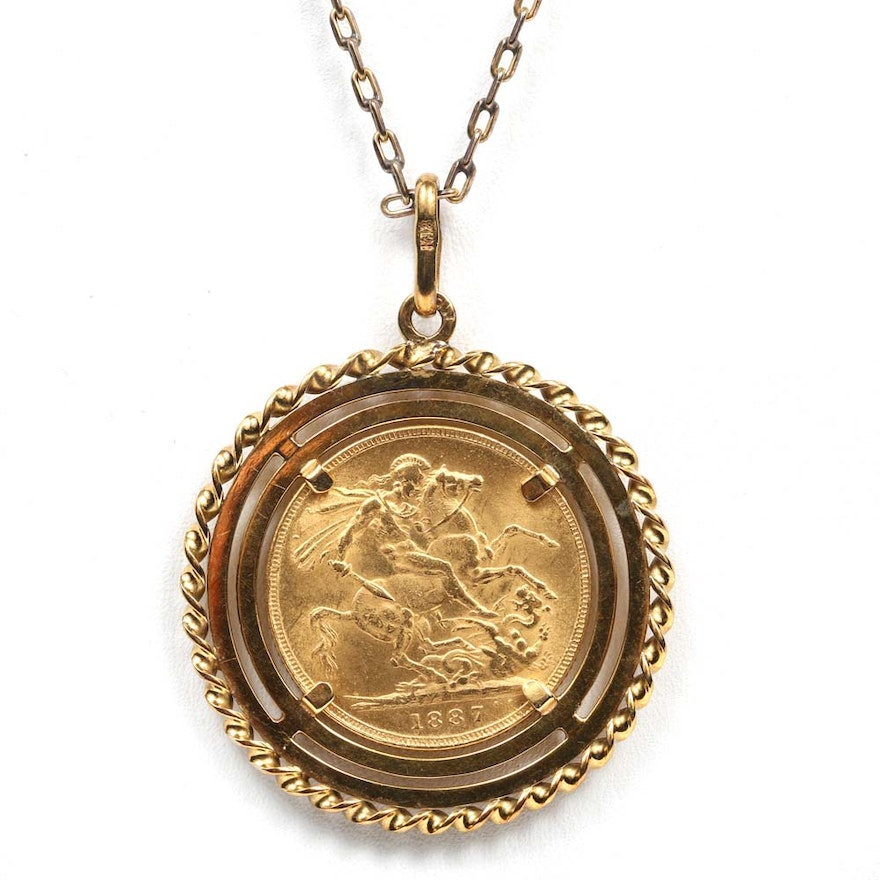 18k yellow gold pendant with 1887 great britain gold sovereign 18k yellow gold pendant with 1887 great britain gold sovereign coin aloadofball Images