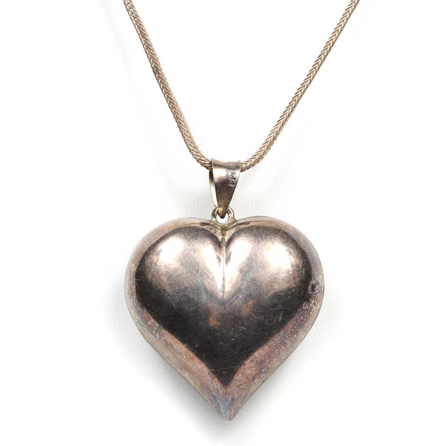 Sterling silver puffed heart pendant necklace ebth sterling silver puffed heart pendant necklace aloadofball Images