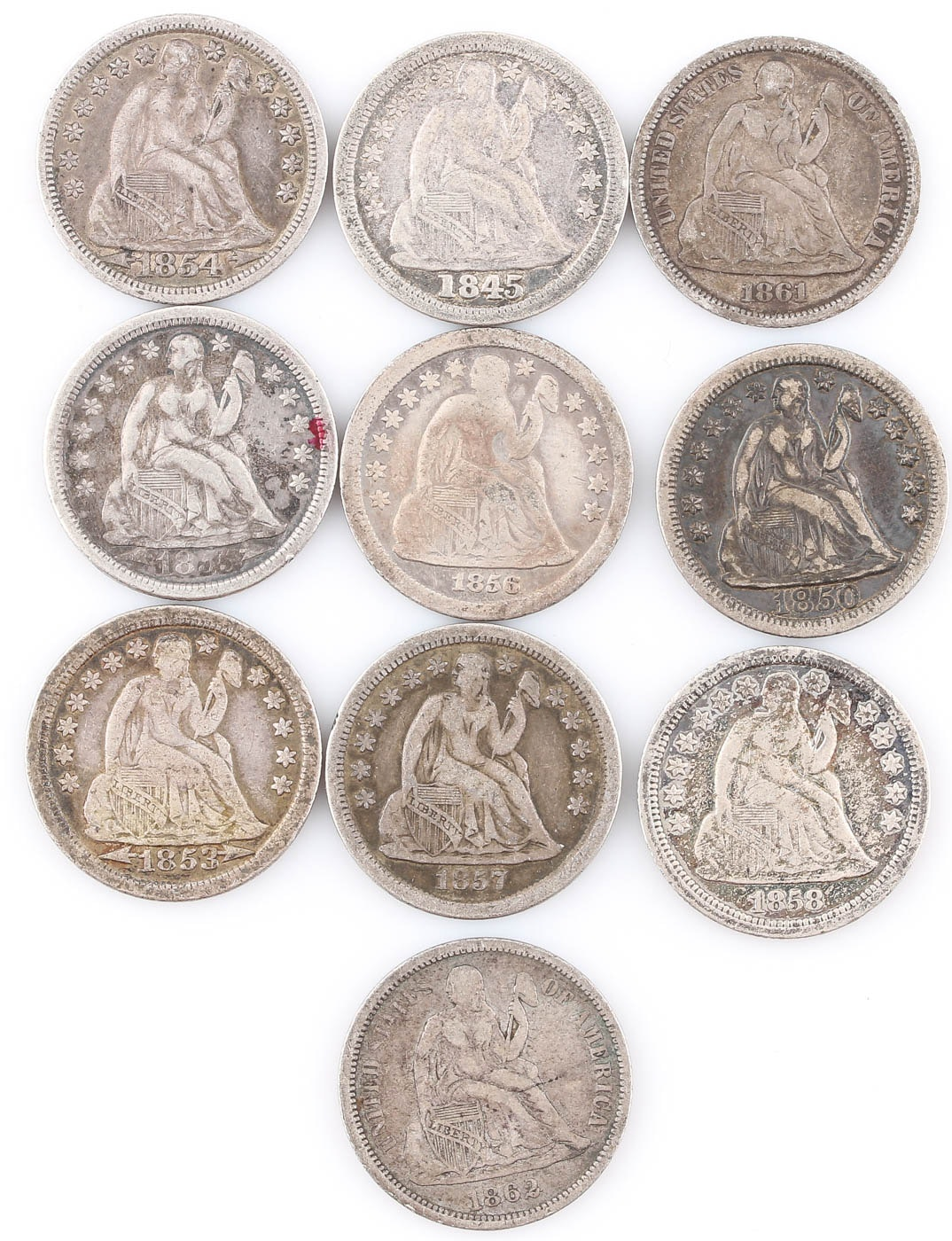 Group of Ten Seated Liberty Silver Dimes Including 1845